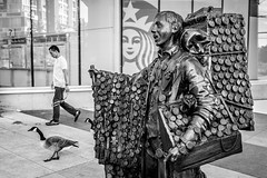 Goose Step (johnjackson808) Tags: art canadagoose fujifilmxt1 mainst vancouver bw blackandwhite goose monochrome people sculpture streetphotography watch watches