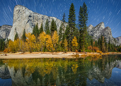 Star Trails Over El Capitan and Three Brothers (Jeffrey Sullivan) Tags: national yosemite star trails park valley northern canon eos mark iii california night photo copyright jeff landscape nature photography reflections usa 5d sullivan november 2012