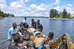 Boat crossing in the Ivory Coast