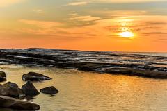 Rocky Sunrise Seascape (Merrillie) Tags: daybreak landscape orange rockplatform nature rocky terrigal sun sunrise centralcoast earlymornings newsouthwales rocks earlymorning nsw water sea scenery clouds travel coastal scenic dawn theskillion seascape skillion coast waterscape australia