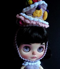 Candy getting ready for the Royal Ascot (Blythe's Tiny Worlds) Tags: ascot hat helmet headband crochet cake fruit sweets strawberry cherry amigurumi custom blythe doll
