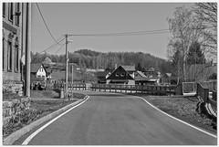 Main road in small city Heřmanice (CZ) (ErrorByPixel) Tags: monochrome bw blackandwhite bnw town city pentax k5 errorbypixel road 50mm czech republic czechia czechy cz heřmanice houses forest trees pentaxart