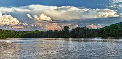 IMG_0374-75PRtzl1scTBbLGER2 (ultravivid imaging) Tags: ultravividimaging ultra vivid imaging ultravivid colorful canon canon5dmk2 clouds landscape lateafternoon latesummer sunsetclouds scenic evening twilight pennsylvania pa panoramic painterly sky water river ducks