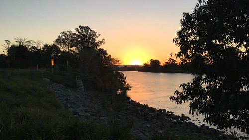 Sunset over the Brisbane River from Ken Fletcher Park, Tennyson, Queensland