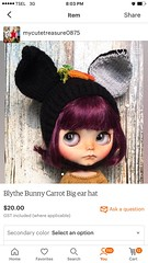 """Listing at my etsy shop """" Bunny carrot big ear hat """""""
