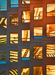 WRONG FLOOR (Irene2727) Tags: sunset windows building diagonal lines golden abstract structure reflections glass