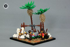Fleeing to Midian - The Story of Moses (soccersnyderi) Tags: legomoses innovalug moses story landscape well lego creation moc bible biblical