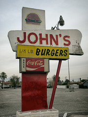 John's Burger (avilon_music) Tags: johns johnsburger fastfood burgerjoints sanbernardinoca ghostedneonsigns markpeacockphotography restaurant greasyspoon e510 olympus cocacola signs signage americana burgers hamburgers