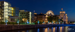 A Blue House With A Blue Window (Tim van Zundert) Tags: germanparliamentaryassociation deutscheparlamentarischegesellschaft panorama panoramic architecture building bundestag reichstag riverspree mitte berlin germany europe capital city cityscape urban night evening longexposure sony a7r voigtlander 21mm ultron