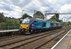 DRS pair 57002 and 68034 passing through Ipswich, enroute to Norwich from Willesden. 68034 is booked to work a railtour on Saturday. 13 09 2017 (pnb511) Tags: trains railway ipswich greateasternmainline geml electric overhead cable ohc catenary traction loco locomotive diesel drs directrailservices class68 class57