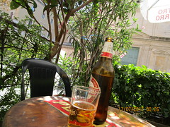 Peroni at Calisto Bar (RubyGoes) Tags: rome lazio italy summer chair table beer glass bottle leaves hedge green pink red oleander branches windows balcony sunshine yellow umbrella white wall