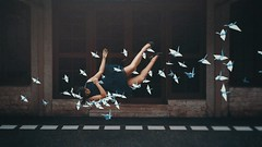 417 A Swoop (Katrina Yu) Tags: selfportrait origami cranes levitation manipulation photoshop conceptual creative concept artsy art artistic mood 2017 photomanipulation 365project