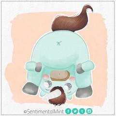 Unicornio verde menta (SentimentalMint) Tags: unicornio verde menta ass chibi cola cute dibujo ilustracion mint green pastel colors unicorn