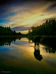 Mirror Mirror .... (evakongshavn) Tags: mirrormirror flickrfriday water waterscape lake yellow reflection sunsetsreflection sunset sunsets norway norge adventuredog dogsonadventures dogphotography dogsthathike bluehour clouds sky skyandsunset serene scenic forest mountain tree scenery