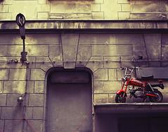 Bike & Lamp (izeq_says_haha) Tags: łódź bank motor bike small lamp street piotrkowska vintage oldschool warm walls tenement lodz electicity