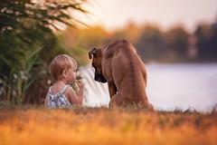 Friendship (Tamás Szarka) Tags: dog pet animal puppy boxer boxerdog nikon lake water kids children child