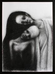 untitled (Adrien Gomet) Tags: pencil graphite drawing symbolism melancholy melancholic dead woman hair crayon blackandwhite