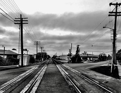 Eastbound... (Dennis Sparks) Tags: blackwhite michigan railroadtracks plymouth lilleyrd iphone