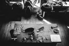 Horse Equipements Workshop (Lasorigin) Tags: abstrait architecture art artistique design noirblanc noir blanc black white nb bw table tools horse workshop abstract shadow wood lines light scissors bois lignes