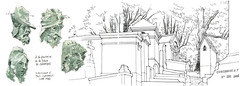 Paris, Père-Lachaise (gerard michel) Tags: france paris fontaine cimetière sketch croquis