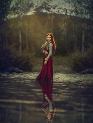 The Huntress ({jessica drossin}) Tags: jessicadrossin fine art woman redhair bow arrow woods fantasy reflection wwwjessicadrossincom