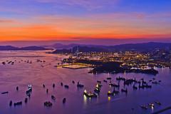 Magic Hong Kong (briantang0703) Tags: sunset hongkong sky cloud red blue mountain city landscape river sea water boat reflection magic light night 5d markiii 35mm canon