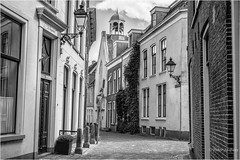 Grote Kerkstraat Leeuwarden (Peter Jaspers (sorry less time to comment)) Tags: frompeterj© 2017 olympus zuiko omd em10 1240mm28 bw blackwhite zwartwit friesland leeuwarden grotekerkstraat fryslân monochrome architecture ljouwert