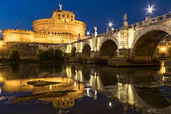 Sant´Angelo's reflections (B.B.H.70) Tags: castelsant´angelo sant angelo castle tiber tevere reflections reflejos sunset night noche luces lights horaazul bluehour rome roma italia italy
