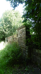 Bridge over  Finkle St, Wortley,    Deepcar -  Dunford  old railway     July 2017 (dave_attrill) Tags: deepcar wortley thurgoland oxspring barnsley junction huddersfield allweather cycleway bridleway footpath remains stopping electrification gantry concrete support oughtibridge oughty platform overgrown green millhouse hazelhead 1983 woodhead railway great central gcr dr beeching cuts transpennine trail upper don july 2017 finkle st road bridge sheffield victoria south yorkshire closed 1970 stone parapet top forge
