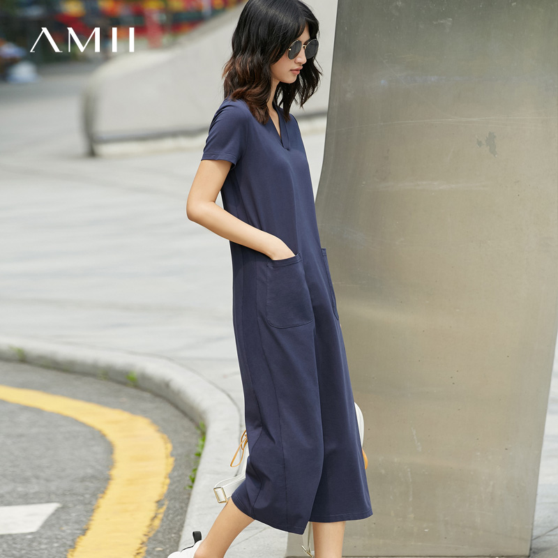 Buy 2 get 2017 new 1Amii summer leisure loose thin V T-shirt dress in long skirts