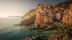 Late afternoon in Riomaggiore (reneschaedler) Tags: beautiful wow switzerland house colorful boat fisher sea ocean water turkise diving swimming rocks nikon schaedler rene laspezia genova italy cinqueterre coast sunset sunlight afternoon riomaggiore