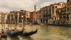 A scene straight out of Venice (BAN - photography) Tags: gondolas pylons venice canal grandcanal windows belltower piers architecture d810