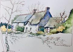 """Thème """"Vacances"""" :""""Souvenir de Bretagne"""" (alainhonoratlefebvre dit """" ALHO """") Tags: bretagne aquarelle maisons encre carnetdecroquis"""