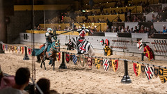 We joust is their marketing slogan, and they're not kidding as you can see. (kuntheaprum) Tags: medievaltimes dinnershow horse sword lance joust nikon d750 sigmaart 50mm f14