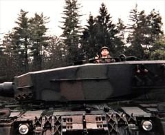 Sherlock Holmes looks impassive in a Swiss Army tank (photo by Jean Upton)