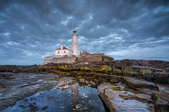 The blue hour ... (Mike Ridley.) Tags: stmaryslighthouse bluesky bluehour nature dusk seascape mikeridley sonya7r2 sonyfe1635f4 nisilandscapepolariser blue beach sky clouds