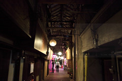 Takegawara alley (Elios.k) Tags: horizontal outdoors colour color night winter travel travelling december 2016 vacation canon 5dmkii camera photography oitaprefecture beppu spatown onsen kyushu island japan asia people twopersons men walk walking bar japanese entertainment alley narrow wooden arcade oldestinjapan nightlife dark lights roof takegawara takegawaraalley