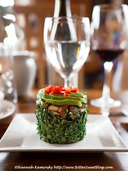 Stanford Inn - Kale Salad (Bitter-Sweet-) Tags: vegan food mendocino california northerncalifornia stanfordinn diningwiththeravens restaurant finedining chef gourmet kale salad greens ceviche meatless avocado tower