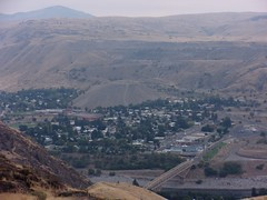 Coulee City at base of dam has large pile of sand and gravel made during excavations for the dam (theslowlane) Tags: 2017trip 2017 centralwashington damsandpower grandcoulee