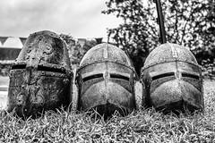 Let battle commence ! (michaeljoakes) Tags: canonpowershotg7x stokesaycastle englishheritage shropshire stokesay blackandwhite armour helmet noiretblanc blancynegro