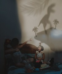 412 Story Time (Katrina Yu) Tags: selfportrait art dinosaurs daydream surreal conceptual creative concept children toys bedtime stories play 2017 365project everyday