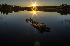 double sun double fun (Stefano Rugolo) Tags: stefanorugolo pentax smcpentaxda1855mmf3556alwr sunset double two 2 sun lake reflection stillness sweden hälsingland jetty backlight tranquillity magic k5 sunstar sunburst water