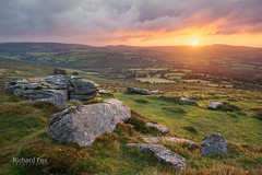 Corndon Flare (http://www.richardfoxphotography.com) Tags: corndontor dartmoor sunrise moorland tor granite outdoors