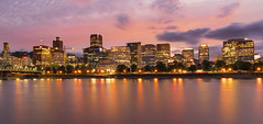 Portland Skyline at Dusk, Portland, OR. (Sveta Imnadze) Tags: lights portland oregon willametteriver reflection