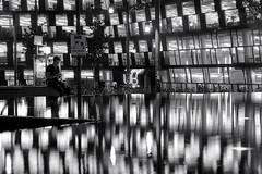 (ploh1) Tags: sw bw schwarzweis freiburg universitätsbibliothek mensch mann person spiegelung wasser wasserbecken gebäude baumwerk reflexion beleuchtet lichter ub lernort