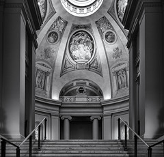 Up to the rotunda (Tim Ravenscroft) Tags: mfa boston rotunda architecture steps monochrome blackandwhite blackwhite hasselblad hasselbladx1d x1d