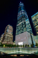 9/11 Tribute, Manhattan, New York (Dominique Richeux Photography) Tags: newyork ny nyc manhattan 911 11 septembre wtc worldtradecenter skyscraper one tower lights night view nightscape landscape usa etatsunis tribute skyline
