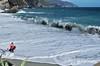 waves in the Monterosso beach (Flavio Calcagnini) Tags: sea mare mediterraneo italia italy liguria la spezia cinque terre monterosso settembre estate mareggiata onde donna ragazza rosso spiaggia schiuma waves wave foam flavio calcagnini photography landscape paesaggio panorama turista tourist blu blue beach