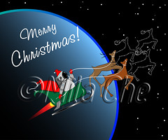 Santa in space (Mila Che) Tags: christmas space illustration santa holiday vector claus star cartoon merry xmas greeting card gift astronaut background spacesuit celebration year deer reindeer new sleigh night cosmonaut flying graphic sky december cosmos winter character noel spaceman universe suit helmet galaxy fantasy happy yule comic cosmic earth newyear planet antler fun orbit rudolph