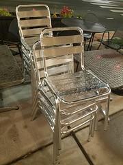 9-22-2017: Raindrops add the sparkle. Arlington, MA (msmariamad) Tags: project365 patiofurniture silverchairs raindrops arlingtonma capitolsquare